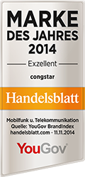 """Handelsblatt zeichnet congstar als """"Marke des Jahres 2014"""" aus"""